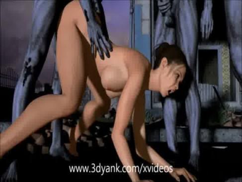 3D anime Fucking DEAD hentai gangbang fuck